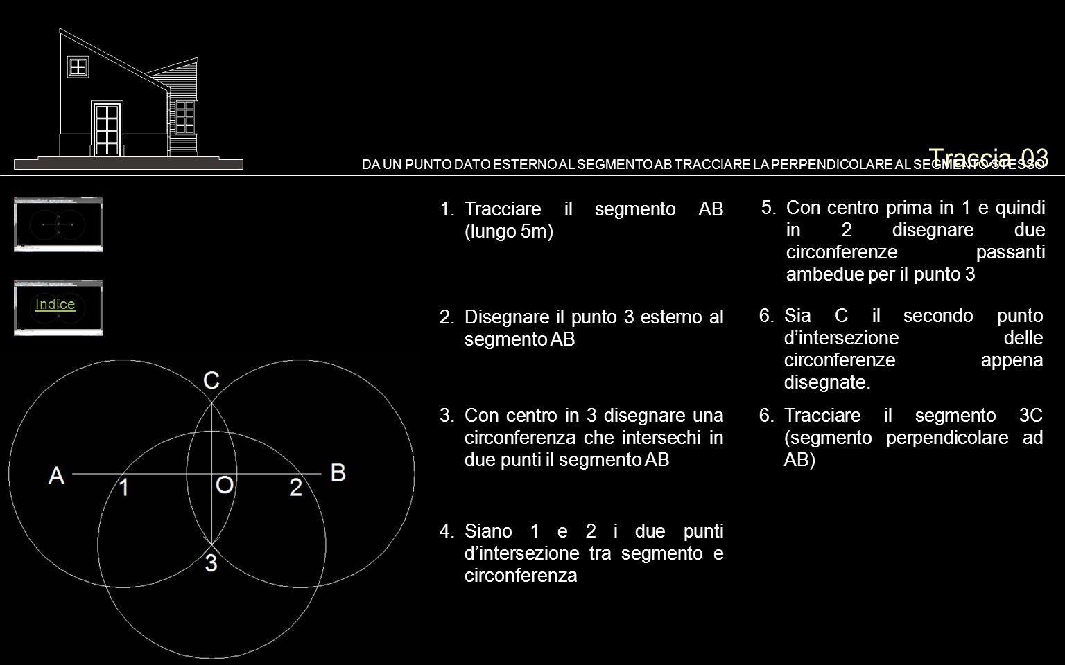 Traccia 03 1.Tracciare il segmento AB (lungo 5m) DA UN PUNTO DATO ESTERNO AL SEGMENTO AB TRACCIARE LA PERPENDICOLARE AL SEGMENTO STESSO 2.Disegnare il punto 3 esterno al segmento AB 5.Con centro prima in 1 e quindi in 2 disegnare due circonferenze passanti ambedue per il punto 3 6.Sia C il secondo punto d'intersezione delle circonferenze appena disegnate.