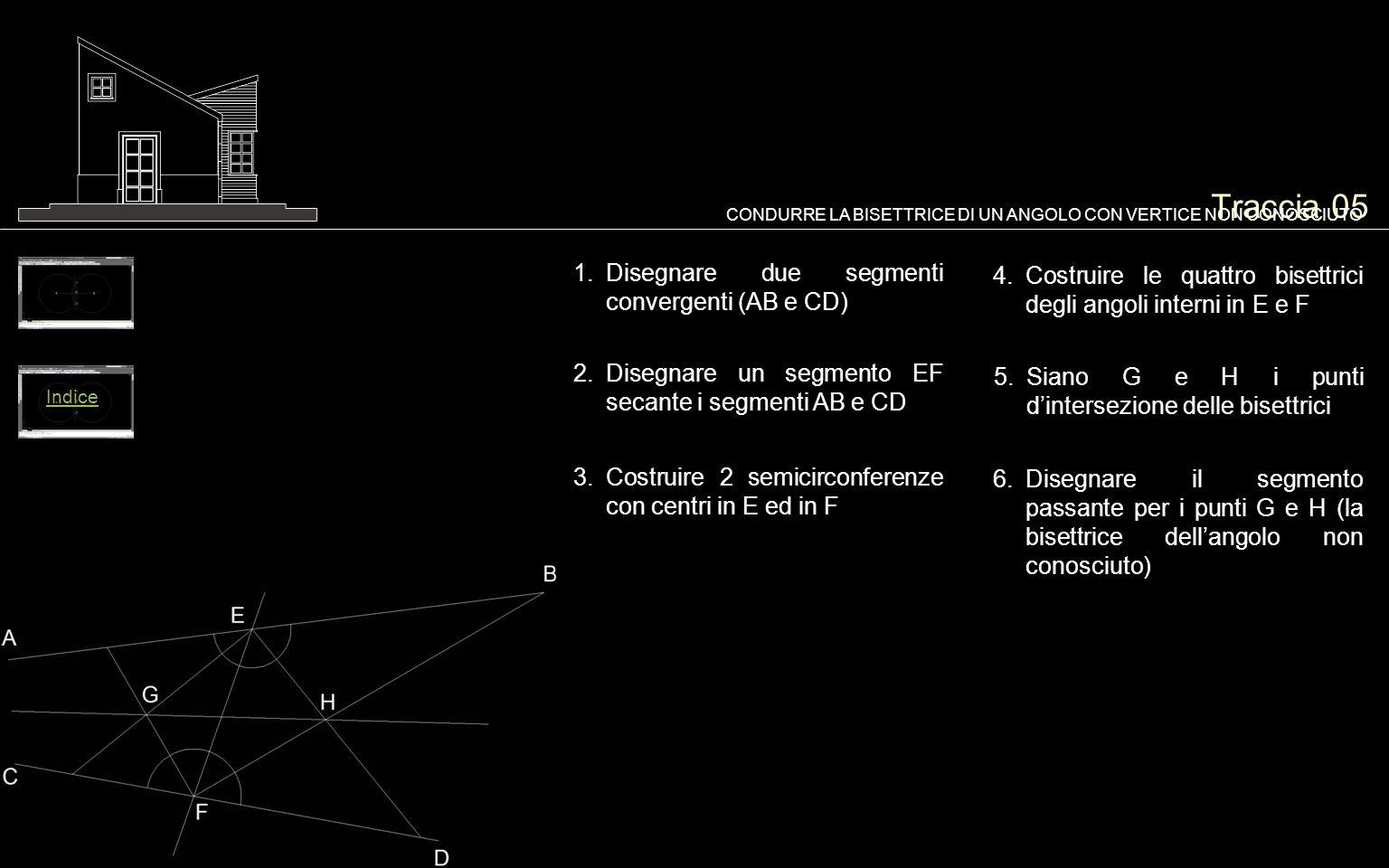 Traccia 05 1.Disegnare due segmenti convergenti (AB e CD) CONDURRE LA BISETTRICE DI UN ANGOLO CON VERTICE NON CONOSCIUTO 2.Disegnare un segmento EF secante i segmenti AB e CD 6.Disegnare il segmento passante per i punti G e H (la bisettrice dell'angolo non conosciuto) 3.Costruire 2 semicirconferenze con centri in E ed in F Indice 4.Costruire le quattro bisettrici degli angoli interni in E e F 5.Siano G e H i punti d'intersezione delle bisettrici
