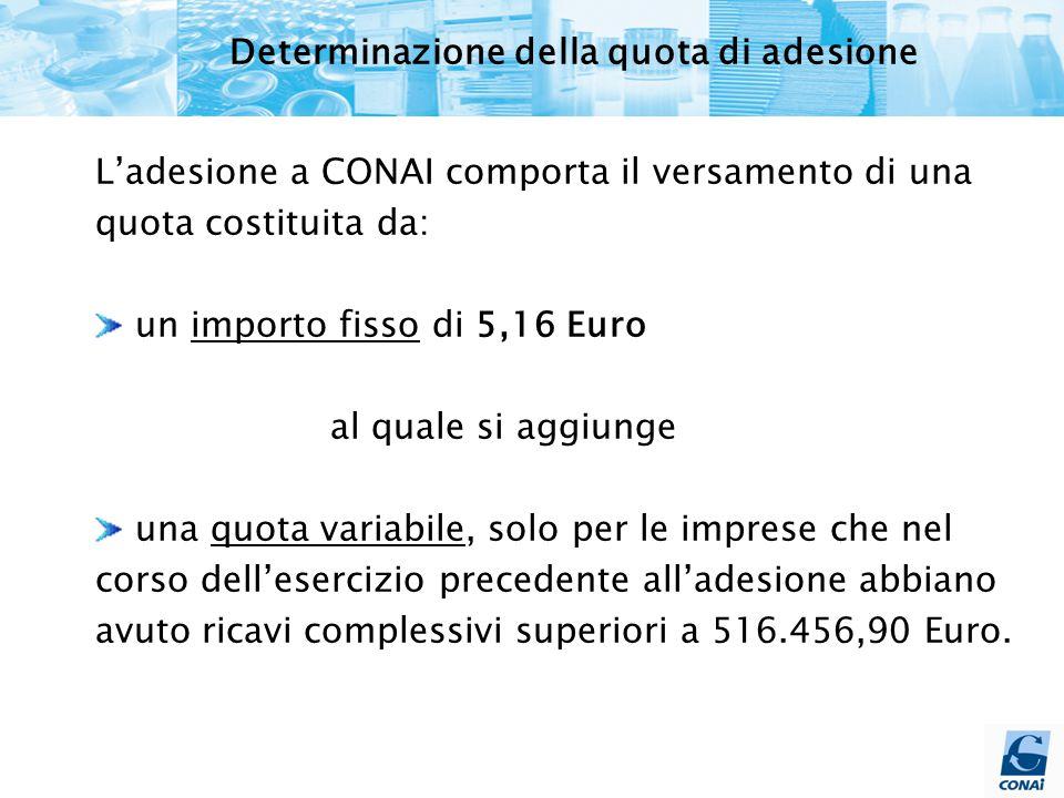 Determinazione della quota di adesione L'adesione a CONAI comporta il versamento di una quota costituita da: un importo fisso di 5,16 Euro al quale si aggiunge una quota variabile, solo per le imprese che nel corso dell'esercizio precedente all'adesione abbiano avuto ricavi complessivi superiori a 516.456,90 Euro.
