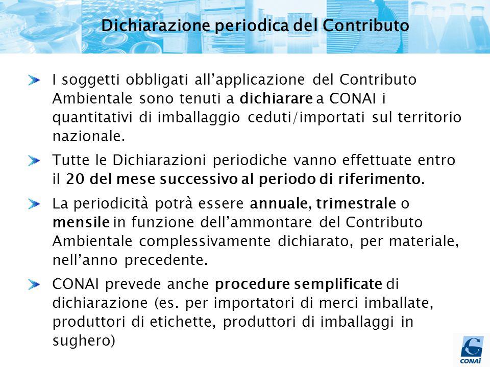 Dichiarazione periodica del Contributo I soggetti obbligati all'applicazione del Contributo Ambientale sono tenuti a dichiarare a CONAI i quantitativi di imballaggio ceduti/importati sul territorio nazionale.
