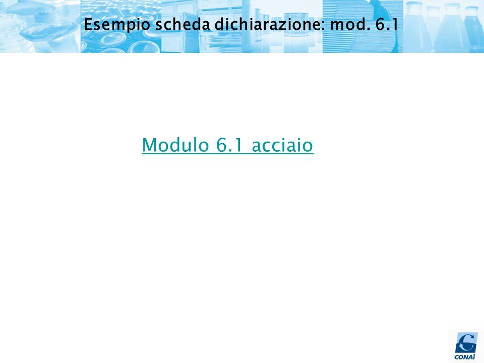 Modulo 6.1 acciaio Esempio scheda dichiarazione: mod. 6.1