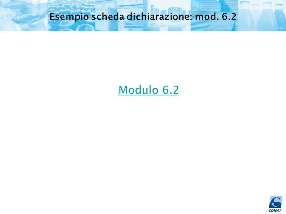 Modulo 6.2 Esempio scheda dichiarazione: mod. 6.2