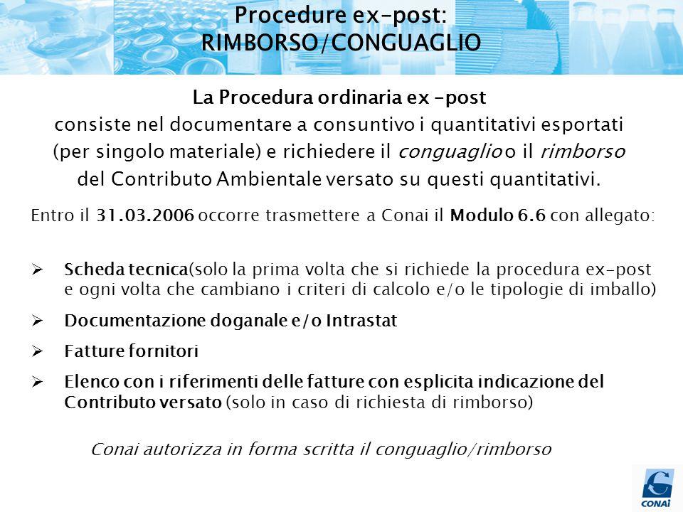 Procedure ex–post: RIMBORSO/CONGUAGLIO La Procedura ordinaria ex –post consiste nel documentare a consuntivo i quantitativi esportati (per singolo materiale) e richiedere il conguaglio o il rimborso del Contributo Ambientale versato su questi quantitativi.