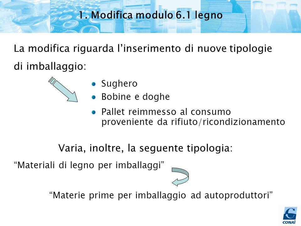 1. Modifica modulo 6.1 legno La modifica riguarda l'inserimento di nuove tipologie di imballaggio: Sughero Bobine e doghe Pallet reimmesso al consumo