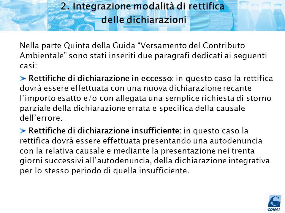 """2. Integrazione modalità di rettifica delle dichiarazioni Nella parte Quinta della Guida """"Versamento del Contributo Ambientale"""" sono stati inseriti du"""