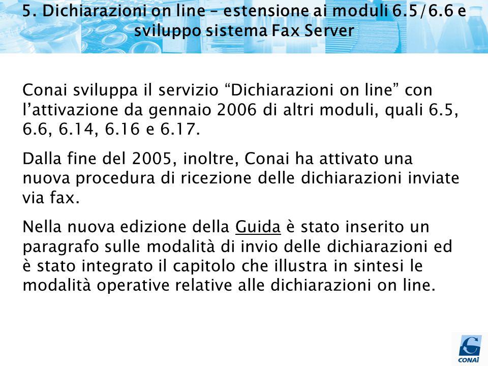 """5. Dichiarazioni on line – estensione ai moduli 6.5/6.6 e sviluppo sistema Fax Server Conai sviluppa il servizio """"Dichiarazioni on line"""" con l'attivaz"""