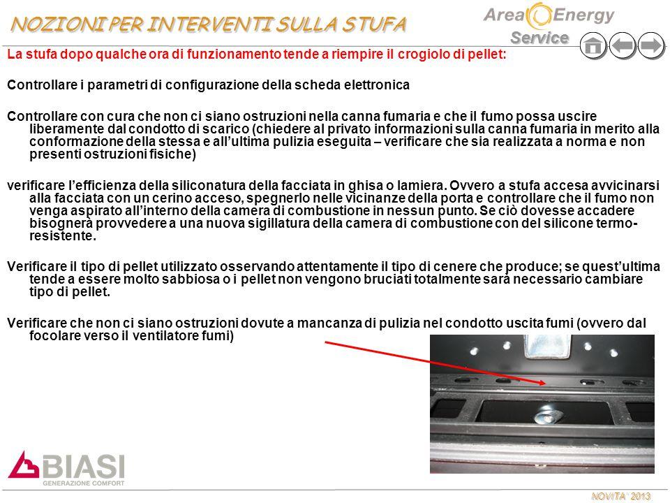 NOVITA' 2013 Service La stufa dopo qualche ora di funzionamento tende a riempire il crogiolo di pellet: Controllare i parametri di configurazione dell