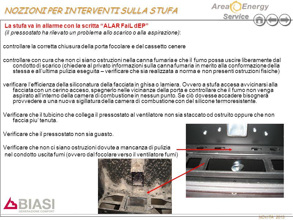 """NOVITA' 2013 Service La stufa va in allarme con la scritta """"ALAR FaiL dEP"""" (il pressostato ha rilevato un problema allo scarico o alla aspirazione): c"""