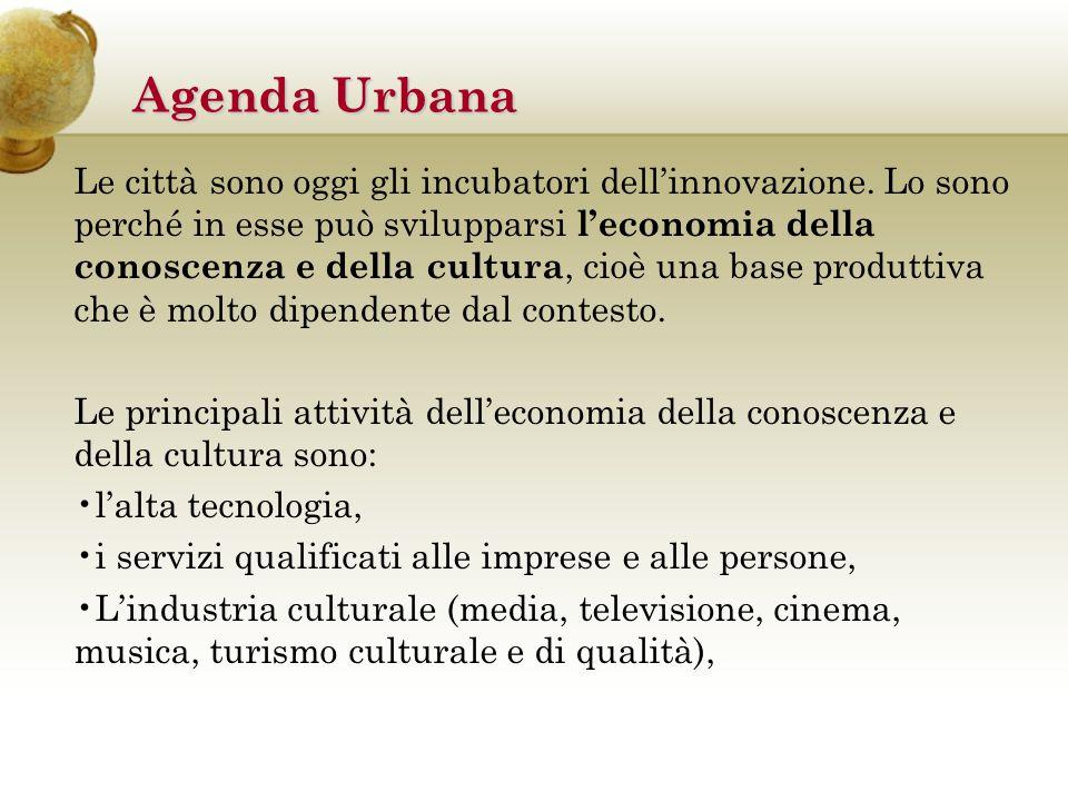 Agenda Urbana Le città sono oggi gli incubatori dell'innovazione.