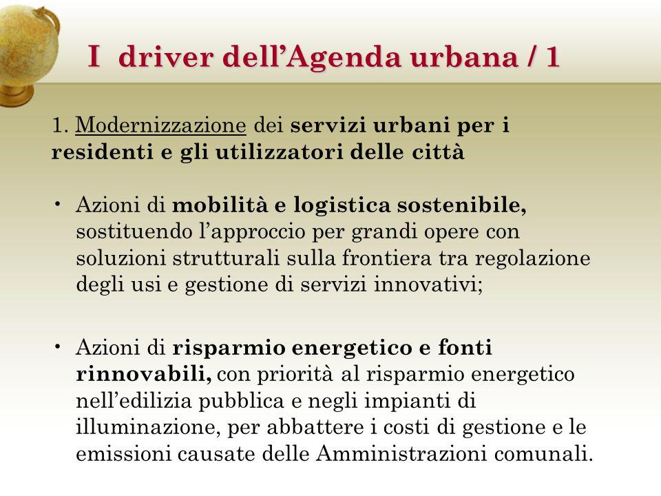 1. Modernizzazione dei servizi urbani per i residenti e gli utilizzatori delle città Azioni di mobilità e logistica sostenibile, sostituendo l'approcc