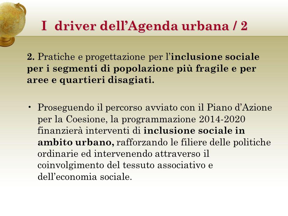 2. Pratiche e progettazione per l' inclusione sociale per i segmenti di popolazione più fragile e per aree e quartieri disagiati. Proseguendo il perco