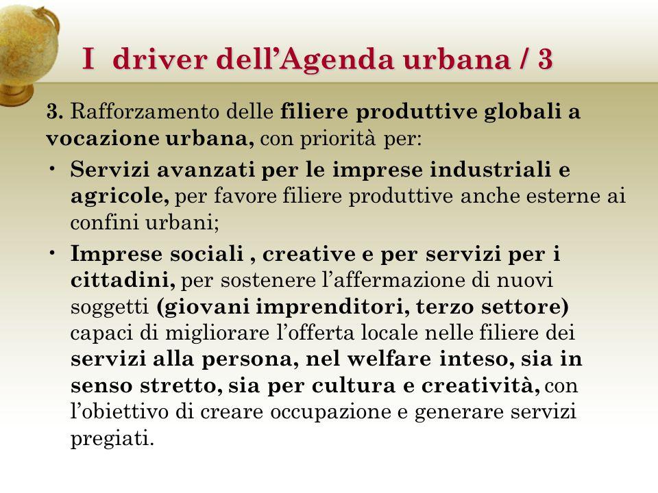 3. Rafforzamento delle filiere produttive globali a vocazione urbana, con priorità per: Servizi avanzati per le imprese industriali e agricole, per fa