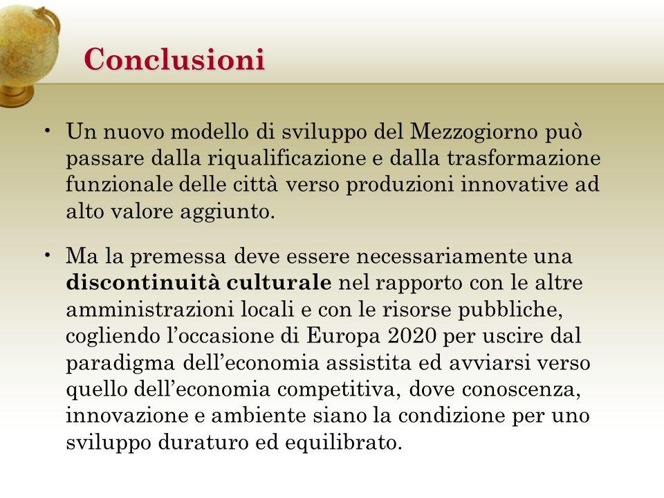 Conclusioni Un nuovo modello di sviluppo del Mezzogiorno può passare dalla riqualificazione e dalla trasformazione funzionale delle città verso produzioni innovative ad alto valore aggiunto.