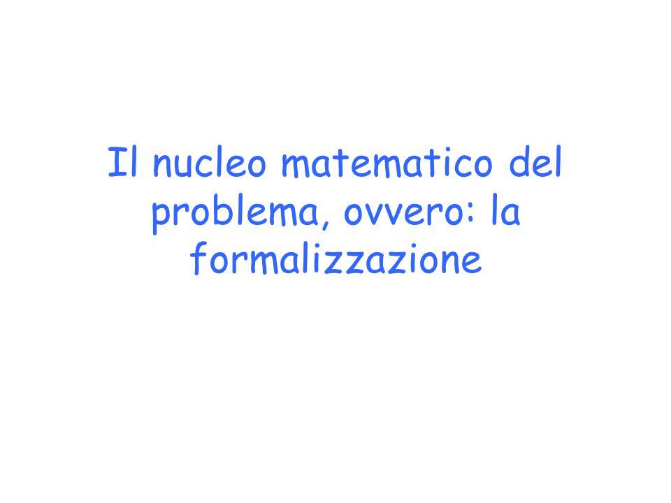 Il nucleo matematico del problema, ovvero: la formalizzazione