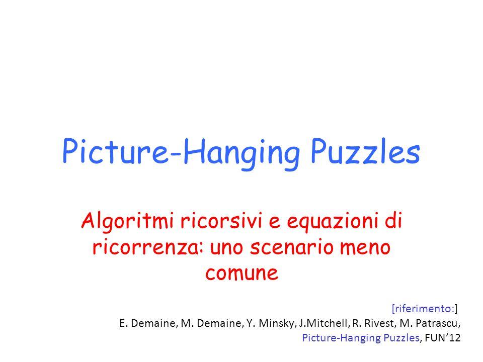 Picture-Hanging Puzzles Algoritmi ricorsivi e equazioni di ricorrenza: uno scenario meno comune [riferimento:] E. Demaine, M. Demaine, Y. Minsky, J.Mi
