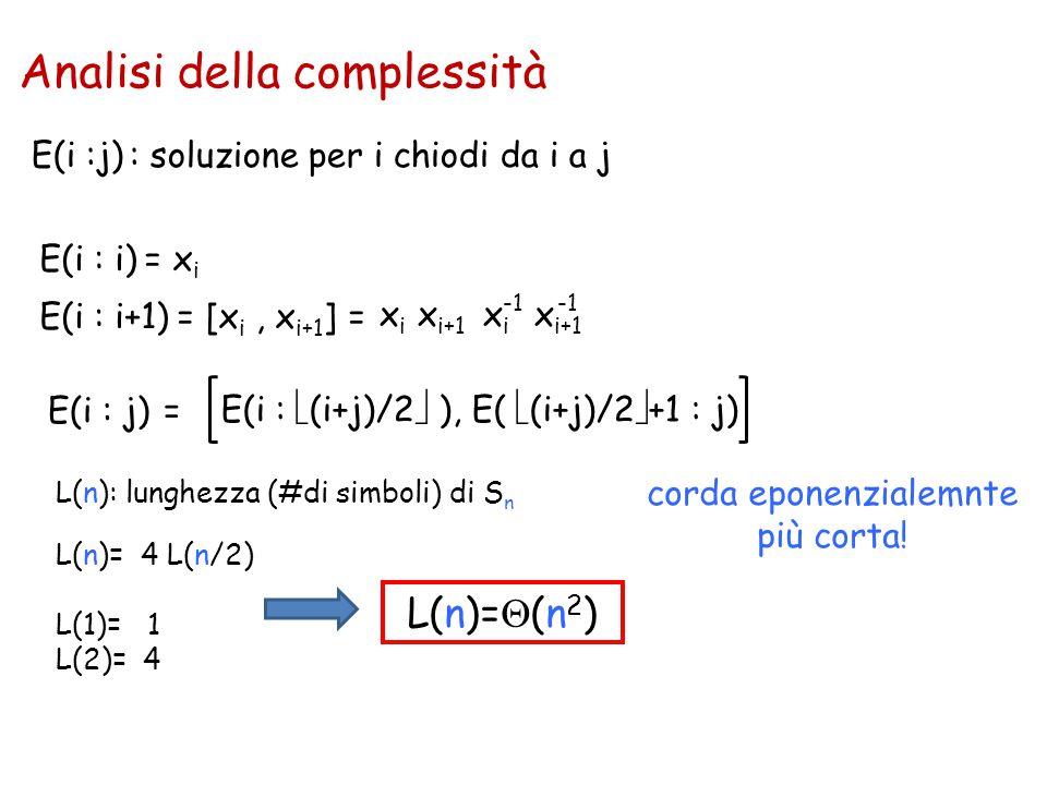 E(i :j) : soluzione per i chiodi da i a j L(n): lunghezza (#di simboli) di S n L(n)= 4 L(n/2) L(1)= 1 L(2)= 4 L(n)=  (n 2 ) E(i : i) = x i E(i : i+1)
