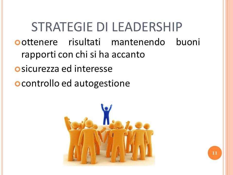 11 STRATEGIE DI LEADERSHIP ottenere risultati mantenendo buoni rapporti con chi si ha accanto sicurezza ed interesse controllo ed autogestione