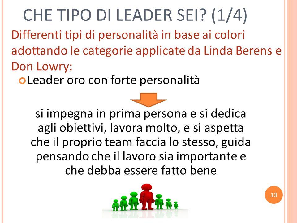 13 CHE TIPO DI LEADER SEI? (1/4) Leader oro con forte personalità si impegna in prima persona e si dedica agli obiettivi, lavora molto, e si aspetta c
