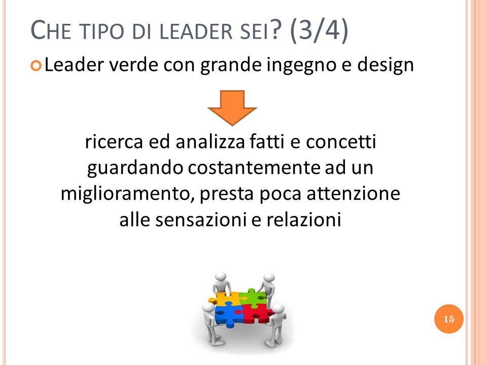 15 C HE TIPO DI LEADER SEI ? (3/4) Leader verde con grande ingegno e design ricerca ed analizza fatti e concetti guardando costantemente ad un miglior
