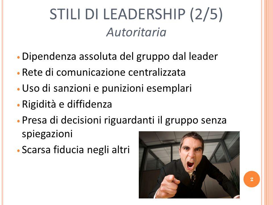 2 STILI DI LEADERSHIP (2/5) Autoritaria Dipendenza assoluta del gruppo dal leader Rete di comunicazione centralizzata Uso di sanzioni e punizioni esem