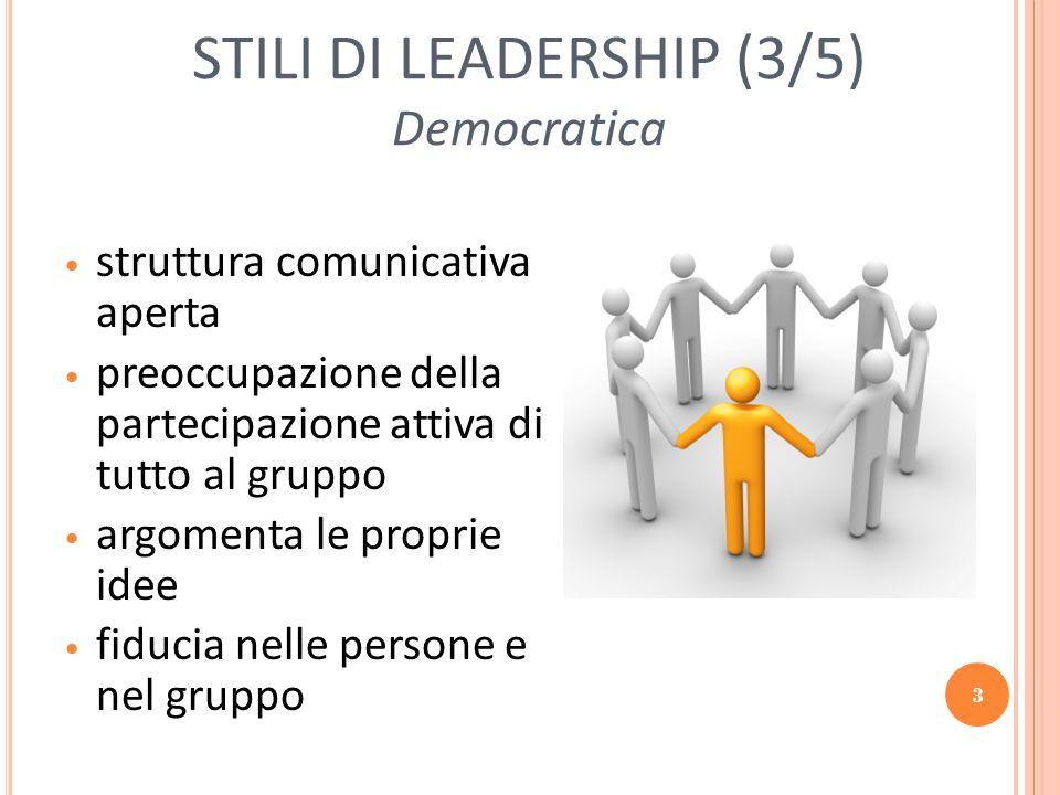 4 STILI DI LEADERSHIP (4/5) Carismatica Articolare una visione e una missione Creare e mantenere un'immagine positiva di se stessi e del gruppo Modificare i valori, gli obiettivi, i bisogni e le disposizioni delle persone argomentando la propria visione delle cose