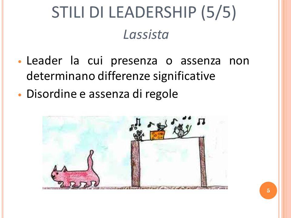 5 STILI DI LEADERSHIP (5/5) Lassista Leader la cui presenza o assenza non determinano differenze significative Disordine e assenza di regole