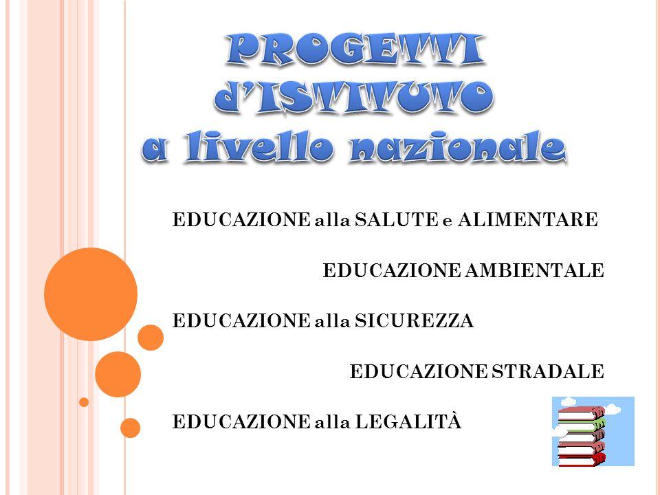 EDUCAZIONE alla SALUTE e ALIMENTARE EDUCAZIONE AMBIENTALE EDUCAZIONE alla SICUREZZA EDUCAZIONE STRADALE EDUCAZIONE alla LEGALITÀ