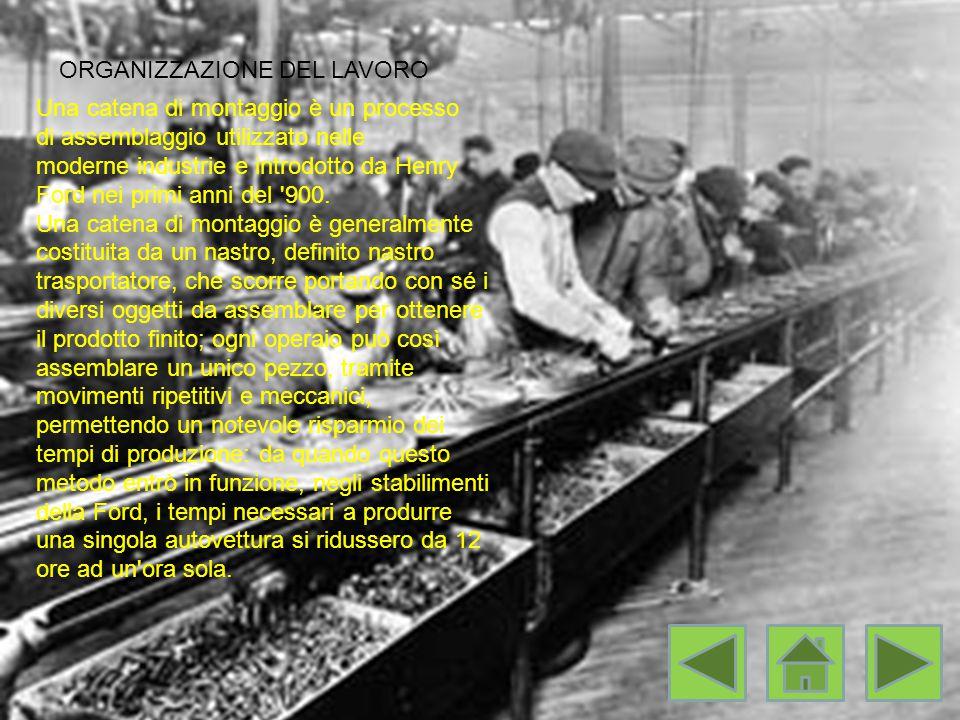 ORGANIZZAZIONE DEL LAVORO Una catena di montaggio è un processo di assemblaggio utilizzato nelle moderne industrie e introdotto da Henry Ford nei primi anni del 900.