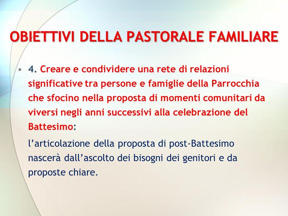 OBIETTIVI DELLA PASTORALE FAMILIARE 4. Creare e condividere una rete di relazioni significative tra persone e famiglie della Parrocchia che sfocino ne