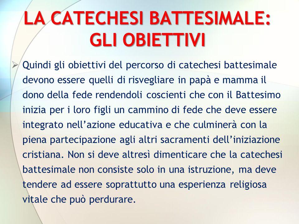 LA CATECHESI BATTESIMALE: GLI OBIETTIVI  Quindi gli obiettivi del percorso di catechesi battesimale devono essere quelli di risvegliare in papà e mam