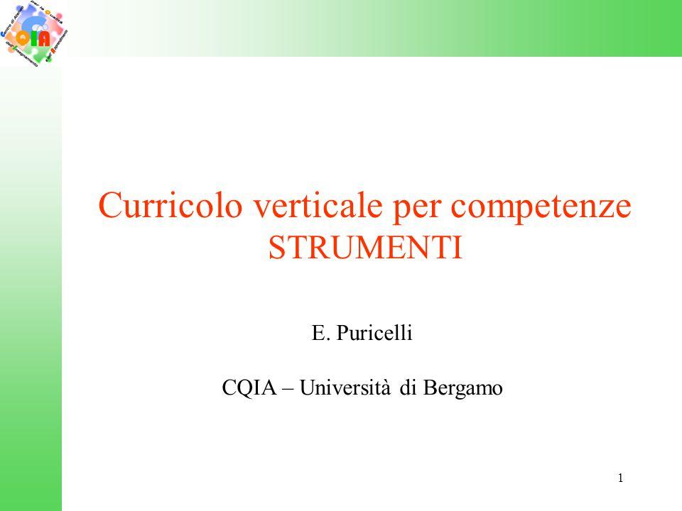 1 Curricolo verticale per competenze STRUMENTI E. Puricelli CQIA – Università di Bergamo