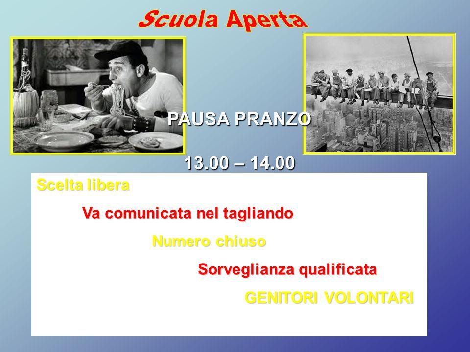 PAUSA PRANZO 13.00 – 14.00 Scelta libera Va comunicata nel tagliando Numero chiuso Sorveglianza qualificata GENITORI VOLONTARI