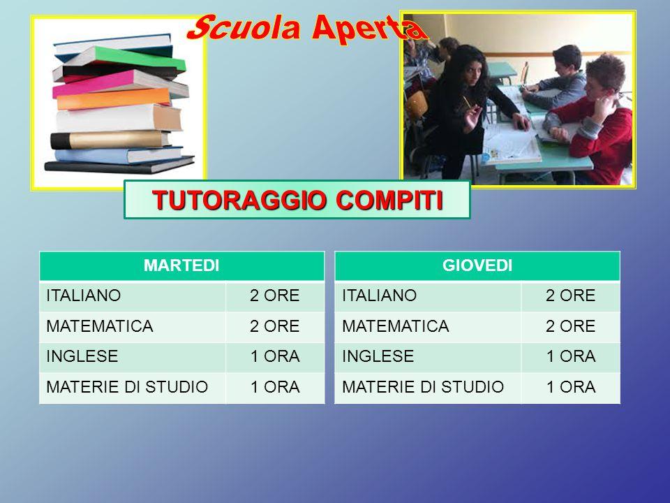 MARTEDI ITALIANO2 ORE MATEMATICA2 ORE INGLESE1 ORA MATERIE DI STUDIO1 ORA TUTORAGGIO COMPITI GIOVEDI ITALIANO2 ORE MATEMATICA2 ORE INGLESE1 ORA MATERI