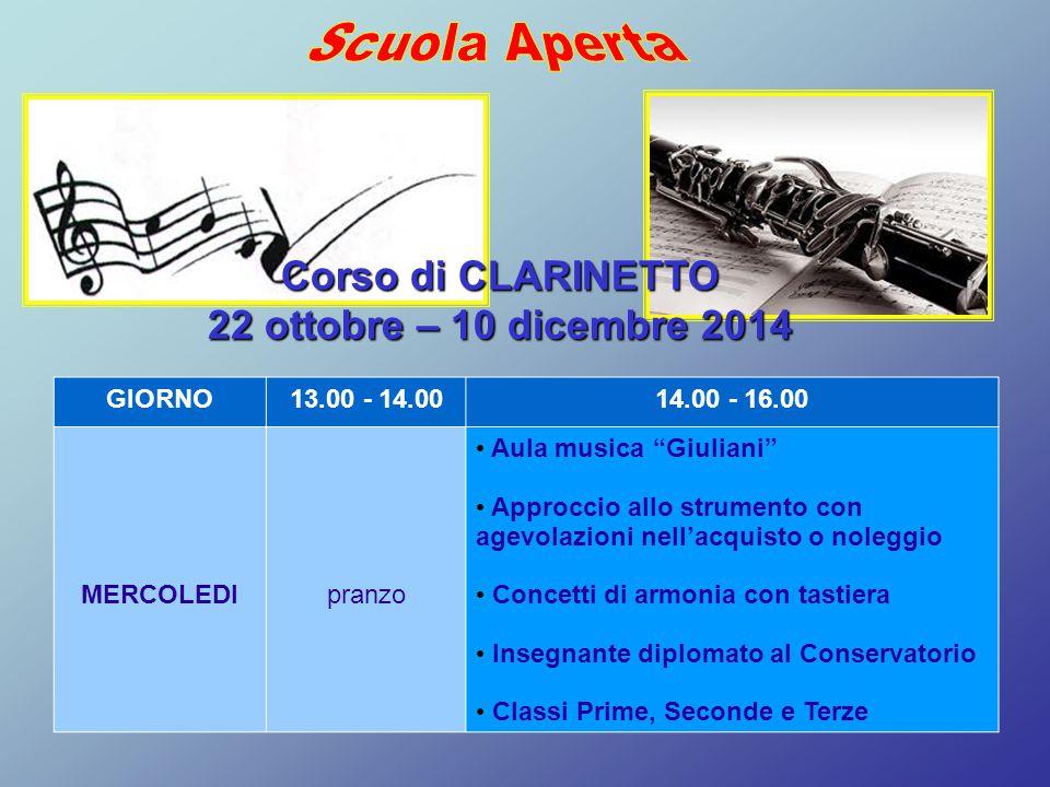 """GIORNO13.00 - 14.0014.00 - 16.00 MERCOLEDIpranzo Aula musica """"Giuliani"""" Approccio allo strumento con agevolazioni nell'acquisto o noleggio Concetti di"""