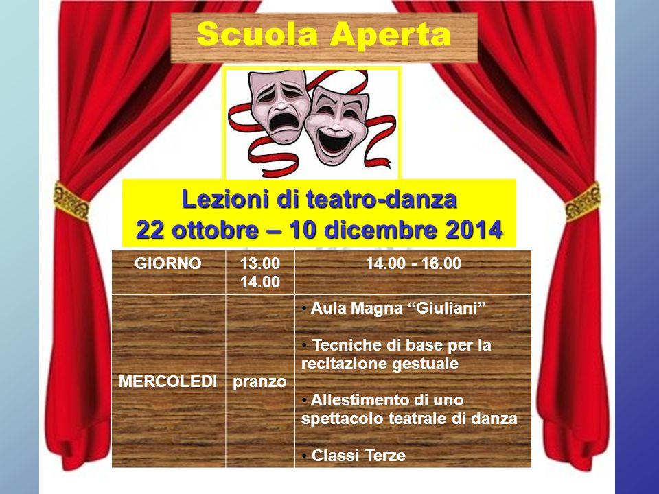 """Lezioni di teatro-danza 22 ottobre – 10 dicembre 2014 GIORNO13.00 14.00 14.00 - 16.00 MERCOLEDIpranzo Aula Magna """"Giuliani"""" Tecniche di base per la re"""