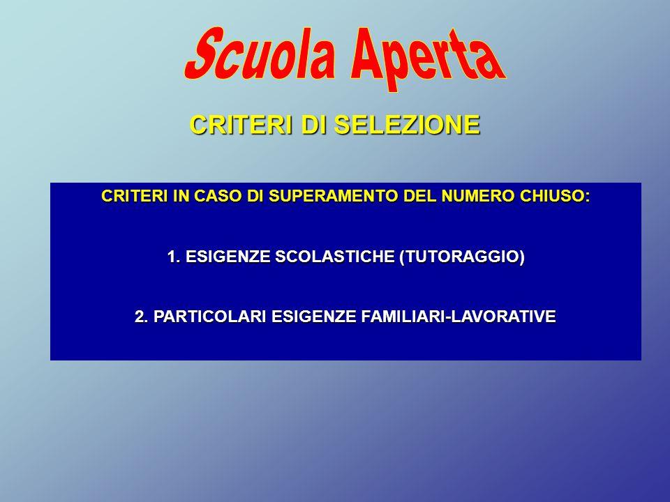 CRITERI DI SELEZIONE CRITERI IN CASO DI SUPERAMENTO DEL NUMERO CHIUSO: 1. ESIGENZE SCOLASTICHE (TUTORAGGIO) 2. PARTICOLARI ESIGENZE FAMILIARI-LAVORATI