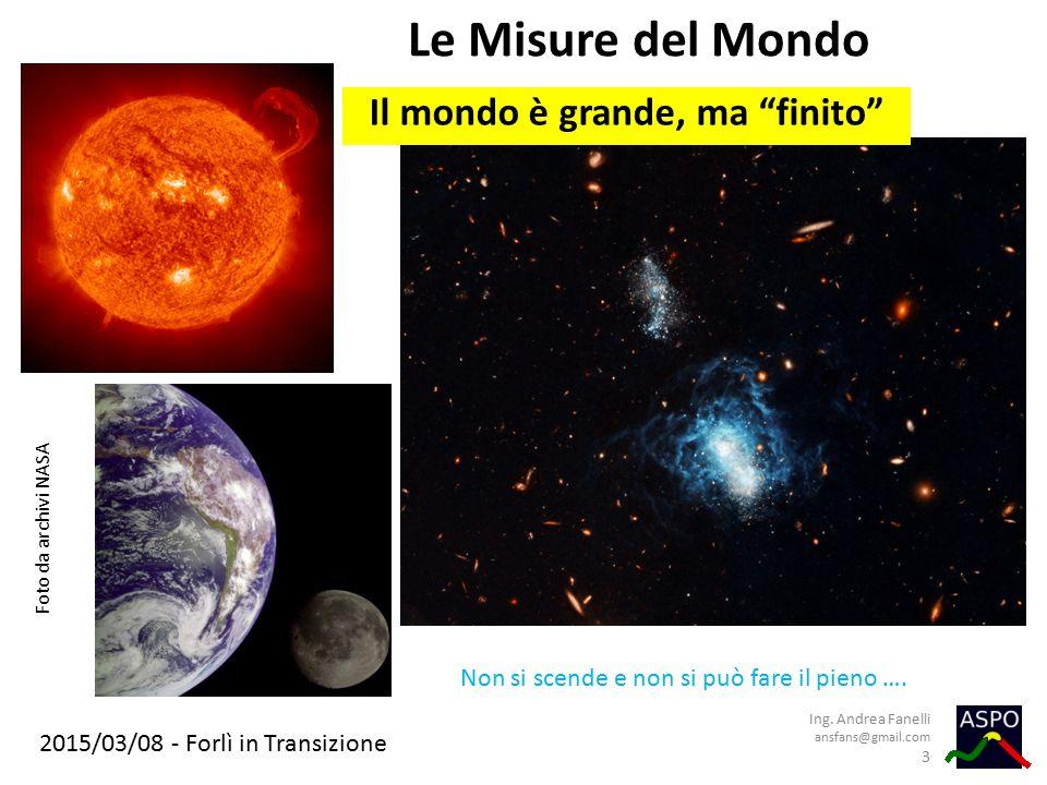 """2015/03/08 - Forlì in Transizione Le Misure del Mondo Ing. Andrea Fanelli ansfans@gmail.com 3 Il mondo è grande, ma """"finito"""" Foto da archivi NASA Non"""