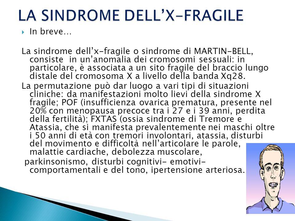  In breve… La sindrome dell'x-fragile o sindrome di MARTIN-BELL, consiste in un'anomalia dei cromosomi sessuali: in particolare, è associata a un sito fragile del braccio lungo distale del cromosoma X a livello della banda Xq28.