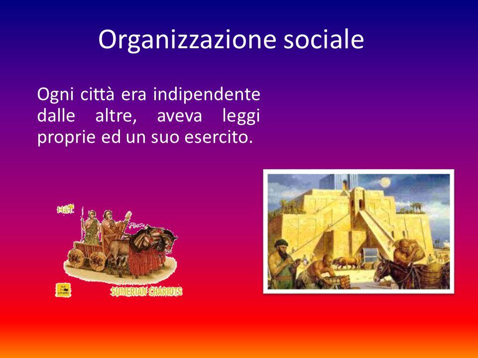 Organizzazione sociale Ogni città era indipendente dalle altre, aveva leggi proprie ed un suo esercito.
