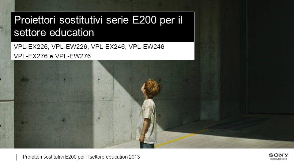 Proiettori sostitutivi E200 per il settore education 2013 Proiettori sostitutivi serie E200 per il settore education VPL-EX226, VPL-EW226, VPL-EX246, VPL-EW246 VPL-EX276 e VPL-EW276