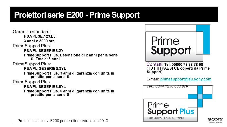 Proiettori sostitutivi E200 per il settore education 2013 Proiettori serie E200 - Prime Support Garanzia standard: PS.VPLSE.123.L3 3 anni o 3000 ore PrimeSupport Plus: PS.VPL.SESERIES.2Y PrimeSupport Plus.