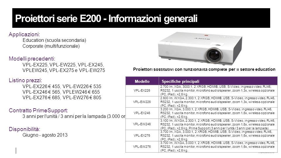 Proiettori serie E200 - Informazioni generali Applicazioni: Education (scuola secondaria) Corporate (multifunzionale) Modelli precedenti: VPL-EX225, VPL-EW225, VPL-EX245, VPLEW245, VPL-EX275 e VPL-EW275 Listino prezzi: VPL-EX226 € 455, VPL-EW226 € 535 VPL-EX246 € 565, VPLEW246 € 655 VPL-EX276 € 685, VPL-EW276 € 805 Contratto PrimeSupport: 3 anni per l unità / 3 anni per la lampada (3.000 ore) Disponibilità: Giugno - agosto 2013 ModelloSpecifiche principali VPL-EX226 2.700 lm, XGA, 3000:1, 2 XRGB, HDMI®, USB, S-Video, ingresso video, RJ45, RS232, 1 uscita monitor, microfono audio/speaker, zoom 1,3x, wireless opzionale (PC, iPad), >2,5 kg.