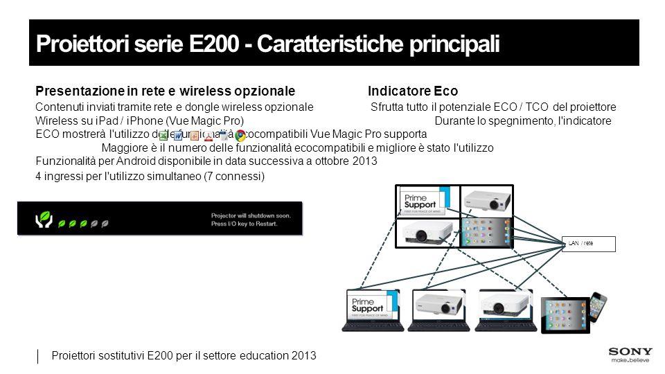 Proiettori sostitutivi E200 per il settore education 2013 Proiettori serie E200 - Caratteristiche principali Presentazione in rete e wireless opzionaleIndicatore Eco Contenuti inviati tramite rete e dongle wireless opzionale Sfrutta tutto il potenziale ECO / TCO del proiettore Wireless su iPad / iPhone (Vue Magic Pro)Durante lo spegnimento, l indicatore ECO mostrerà l utilizzo delle funzionalità ecocompatibili Vue Magic Pro supporta Maggiore è il numero delle funzionalità ecocompatibili e migliore è stato l utilizzo Funzionalità per Android disponibile in data successiva a ottobre 2013 4 ingressi per l utilizzo simultaneo (7 connessi) LAN / rete