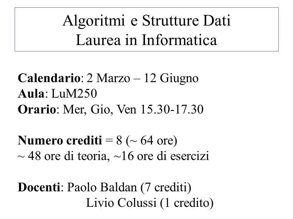 Algoritmi e Strutture Dati Laurea in Informatica Calendario: 2 Marzo – 12 Giugno Aula: LuM250 Orario: Mer, Gio, Ven 15.30-17.30 Numero crediti = 8 (~ 64 ore) ~ 48 ore di teoria, ~16 ore di esercizi Docenti: Paolo Baldan (7 crediti) Livio Colussi (1 credito)