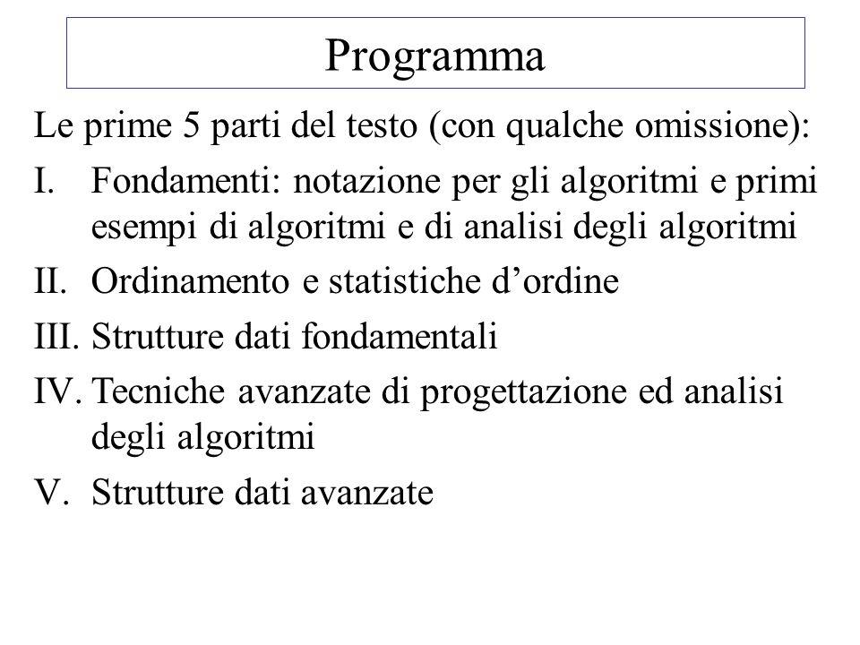 Programma Le prime 5 parti del testo (con qualche omissione): I.Fondamenti: notazione per gli algoritmi e primi esempi di algoritmi e di analisi degli algoritmi II.Ordinamento e statistiche d'ordine III.Strutture dati fondamentali IV.Tecniche avanzate di progettazione ed analisi degli algoritmi V.Strutture dati avanzate