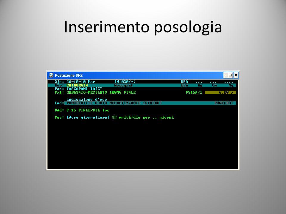 Inserimento posologia