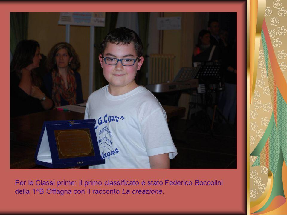 Per le Classi prime: il primo classificato è stato Federico Boccolini della 1^B Offagna con il racconto La creazione.