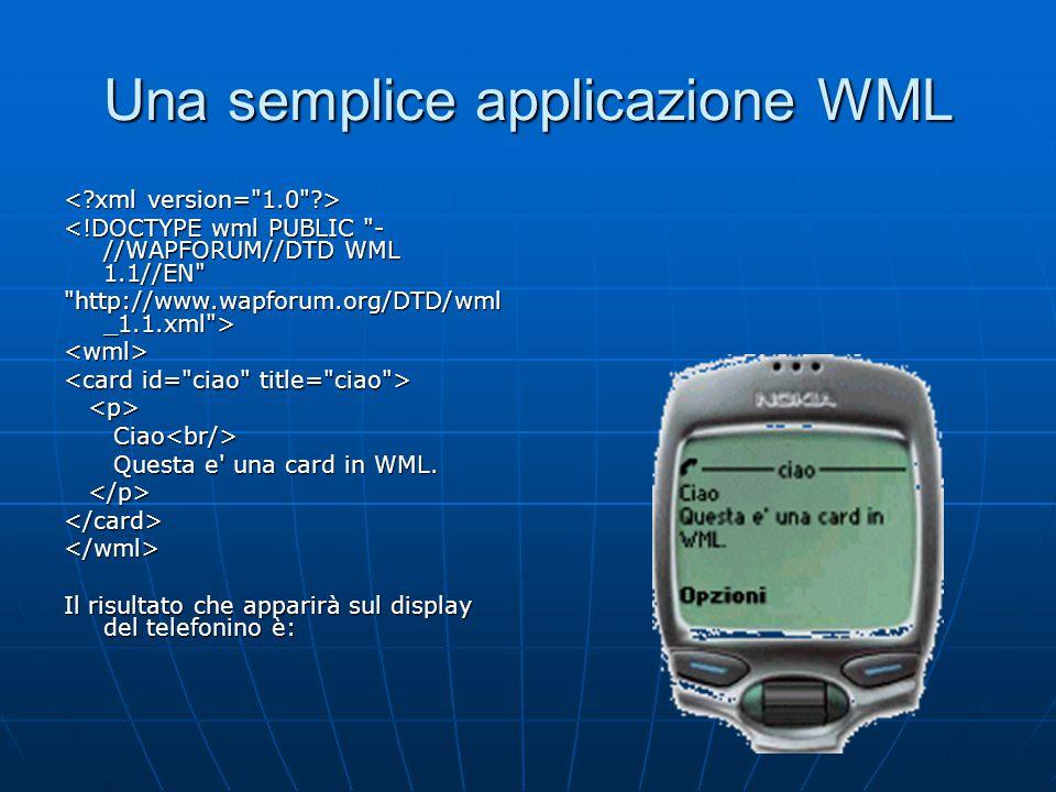 Una semplice applicazione WML <!DOCTYPE wml PUBLIC - //WAPFORUM//DTD WML 1.1//EN http://www.wapforum.org/DTD/wml _1.1.xml > <wml> Ciao Ciao Questa e una card in WML.