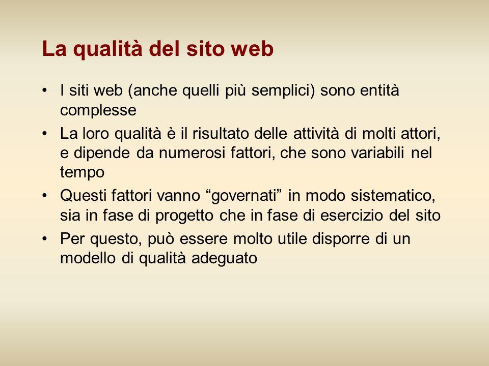 La qualità del sito web I siti web (anche quelli più semplici) sono entità complesse La loro qualità è il risultato delle attività di molti attori, e