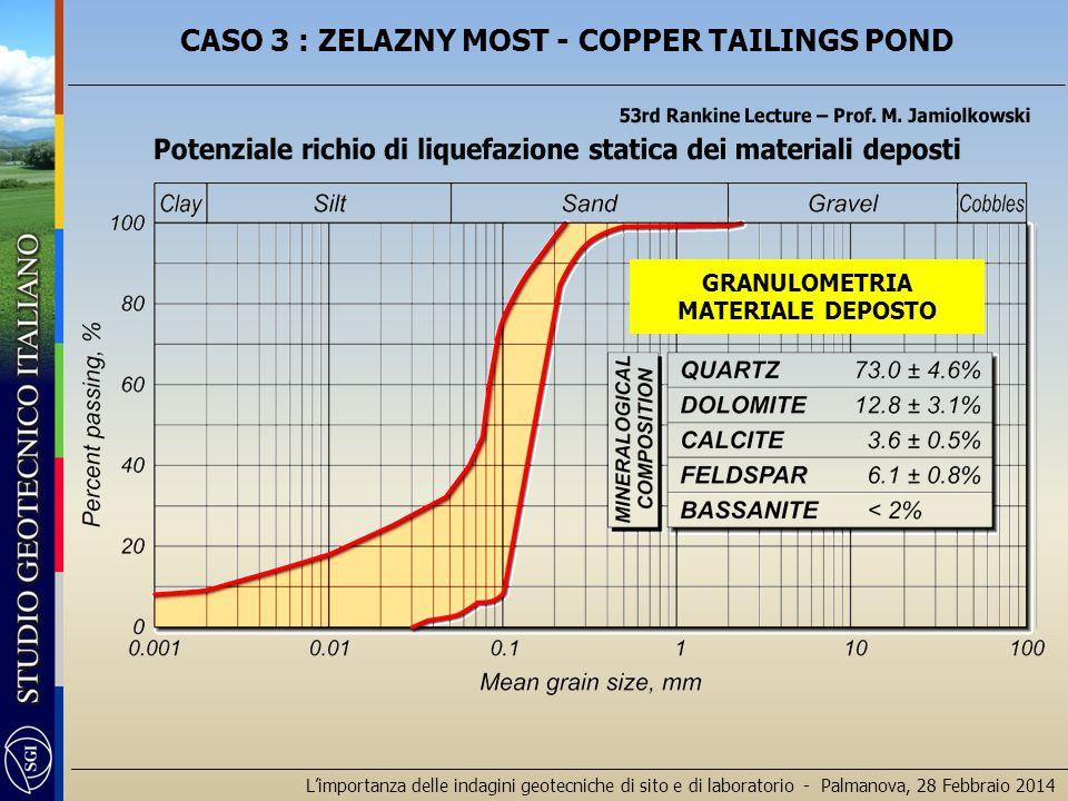 L'importanza delle indagini geotecniche di sito e di laboratorio - Palmanova, 28 Febbraio 2014 GRANULOMETRIA MATERIALE DEPOSTO CASO 3 : ZELAZNY MOST - COPPER TAILINGS POND